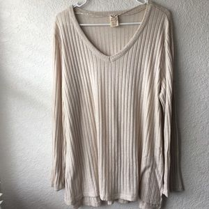 Long Sleeve Ribbed Top Cream Women's Size 2XL